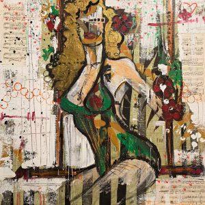 Technique mixte sur toile – 95×95 cm – Savine Ravat