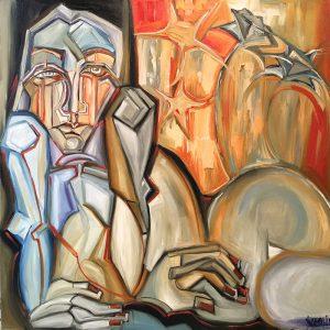 Peinture à l'huile sur toile – 80×80 cm – Betty Werlie