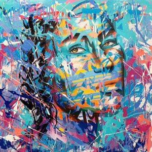 Technique mixte sur toile – 80×80 cm – YBA
